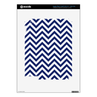 Navy Blue and White Zigzag Stripes Chevron Pattern Skins For iPad 3