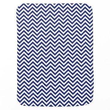 Beach Themed Navy Blue and White Zigzag Stripes Chevron Pattern Swaddle Blanket