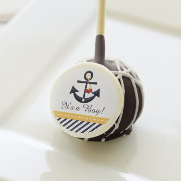 Beach Themed NAVY BLUE AND YELLOW ANCHOR BABY SHOWER CAKE POPS