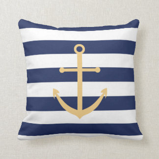 Navy Blue and Yellow Anchor Pillow