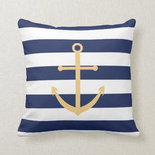 Navy Blue and Yellow Anchor Pillow Zazzle