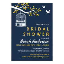 Navy Blue and Yellow Bird Cage on Tree Invitation