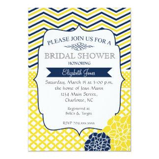 "Navy Blue and Yellow  Bridal shower Invitation 5"" X 7"" Invitation Card"