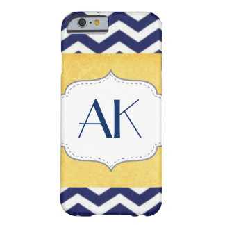 Navy Blue and Yellow Chevron Pattern Monogram Barely There iPhone 6 Case