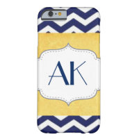 Navy Blue and Yellow Chevron Pattern Monogram iPhone 6 Case (<em>$44.95</em>)