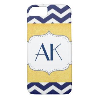Navy Blue and Yellow Chevron Pattern Monogram iPhone 7 Case