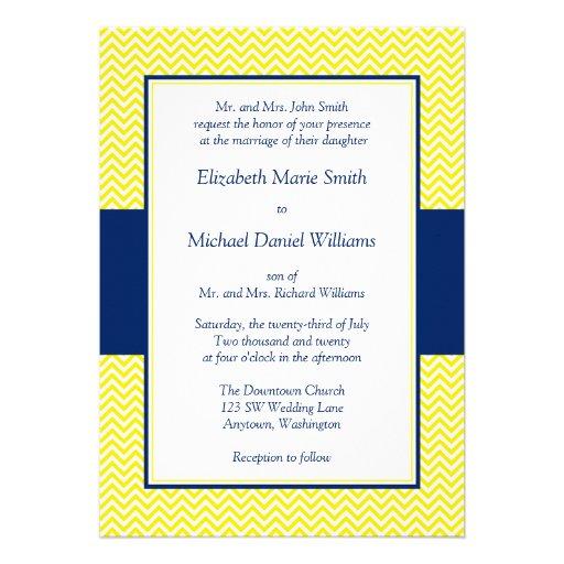 "Navy Blue And Yellow Chevron Wedding Invitations 5"" X 7"