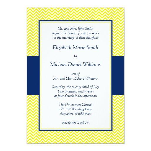 Navy Blue And Yellow Chevron Wedding Invitations