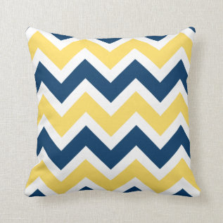 Navy Blue And Yellow Chevron Zigzag Pattern Throw Pillow at Zazzle