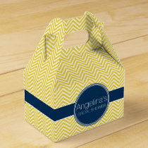 Navy Blue and Yellow Chevrons Bridal Shower Favor Box