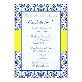 Navy Blue and Yellow Damask Bridal Shower Card