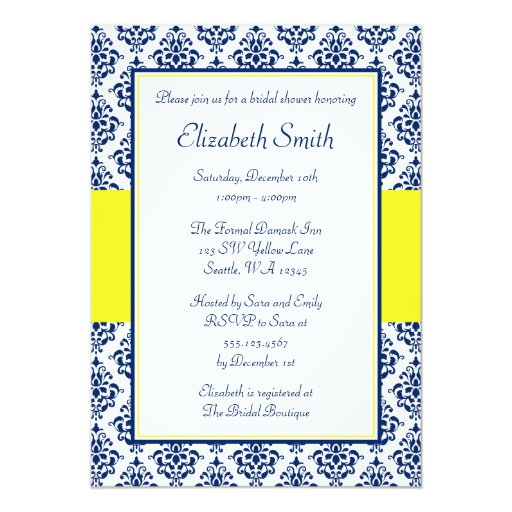 Navy Blue and Yellow Damask Bridal Shower Invites