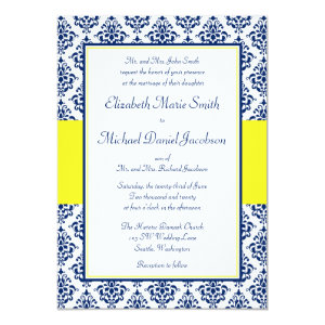 Navy Blue and Yellow Damask Wedding Invitations 5