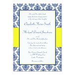 Navy Blue and Yellow Damask Wedding Invitations