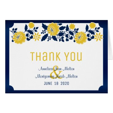 Bride Themed Navy Blue and Yellow Floral Wedding Card