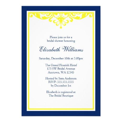 Bridal shower invitations bridal shower invitations navy for Yellow bridal shower invitations