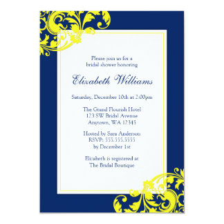 Navy Blue and Yellow Flourish Swirls Bridal Shower Card