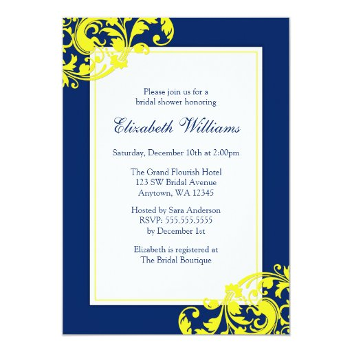 Navy Blue And Yellow Flourish Swirls Bridal Shower Card