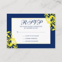 Navy Blue and Yellow Flourish Swirls RSVP Enclosure Card