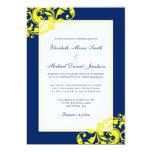 Navy Blue and Yellow Flourish Swirls Wedding 5x7 Paper Invitation Card