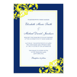 Navy Blue and Yellow Flourish Swirls Wedding Card