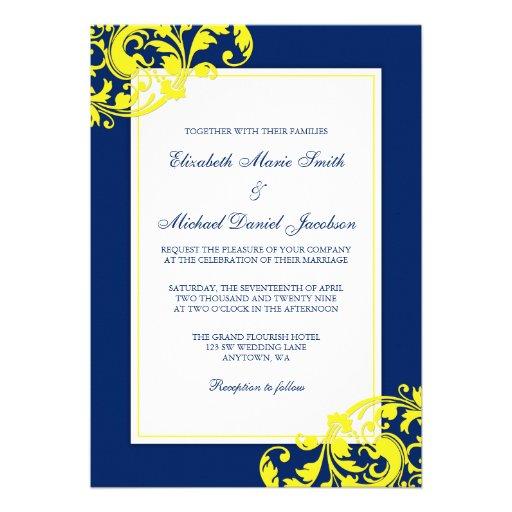 """Navy Blue And Yellow Flourish Swirls Wedding 5"""" X 7"""