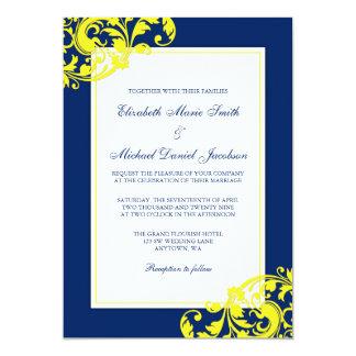 Navy Blue and Yellow Flourish Swirls Wedding Invitation