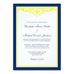 Navy Blue and Yellow Flourish Wedding Invitation 5