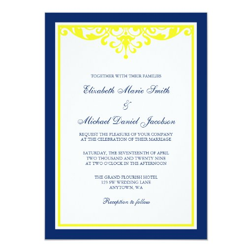 Navy Blue And Yellow Flourish Wedding Invitation