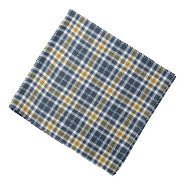 Beach Themed Navy Blue and Yellow Gold Sporty Plaid Bandana