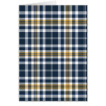 Navy Blue and Yellow Gold Sporty Plaid Blank Card