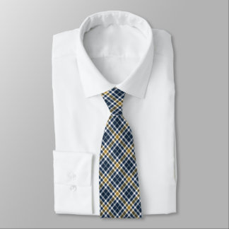 Navy Blue and Yellow Gold Sporty Plaid Neck Tie