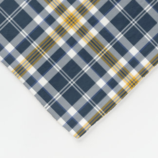 Navy Blue and Yellow Gold Sporty Plaid Pattern Fleece Blanket