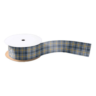 Navy Blue and Yellow Gold Sporty Plaid Satin Ribbon
