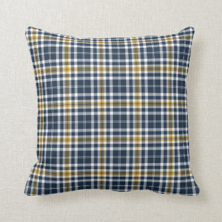 Navy Blue and Yellow Gold Sporty Plaid Throw Pillow
