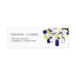 Navy Blue and Yellow Mason Jars Address Label