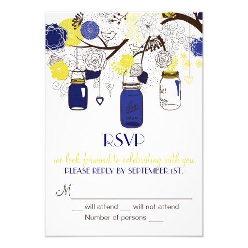 Navy Blue and Yellow Mason Jars RSVP Invitation