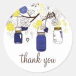 Navy Blue and Yellow Mason Jars Thank You Sticker
