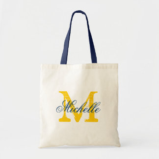 Navy blue and yellow monogram wedding tote bag