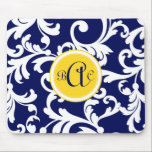 "Navy Blue and Yellow Monogrammed Damask Mouse Pad<br><div class=""desc"">Navy Blue and Yellow Monogrammed Damask</div>"