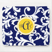 Navy Blue and Yellow Monogrammed Damask Mouse Pad