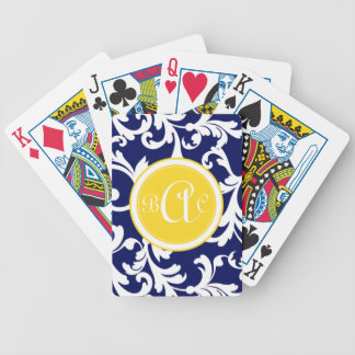Navy Blue and Yellow Monogrammed Damask Print Bicycle Playing Cards