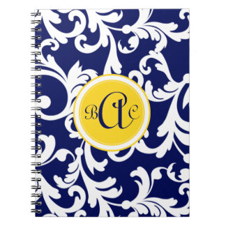 Navy Blue and Yellow Monogrammed Damask Spiral Notebook