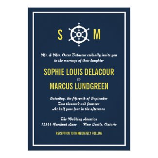 Navy Blue and Yellow Nautical Wedding Invitation