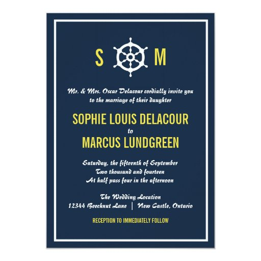 Navy Blue And Yellow Nautical Wedding Invitation