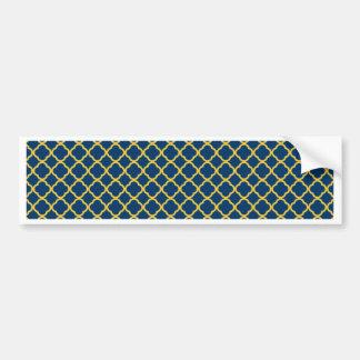 Navy Blue and Yellow Quatrefoil Bumper Sticker