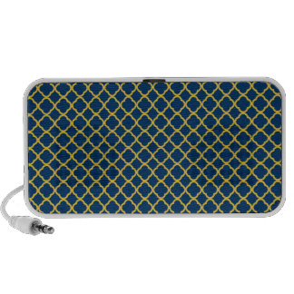 Navy Blue and Yellow Quatrefoil iPod Speakers