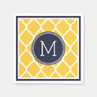 Navy Blue and Yellow Quatrefoil Wedding Monogram Paper Napkin