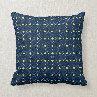 Navy Blue and Yellow retro Squares, Diamonds Throw Pillow