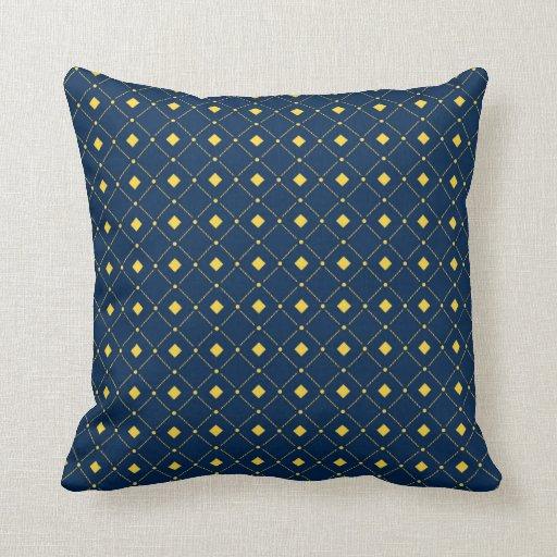 Navy Blue and Yellow retro Squares, Diamonds Throw Pillows Zazzle